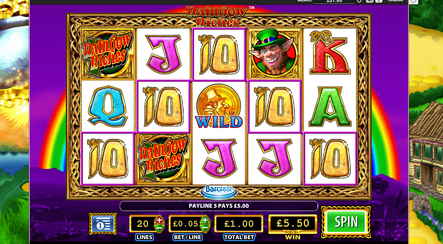 Play Rainbow Riches Slot at Crown Bingo