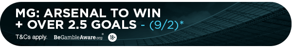 **MG's bet: Arsenal to win + Over 3.5 goals (9/2)**