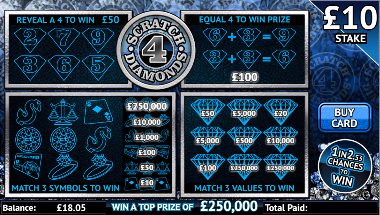 Play Scratch 4 Diamonds online scratchcard at Crown Bingo