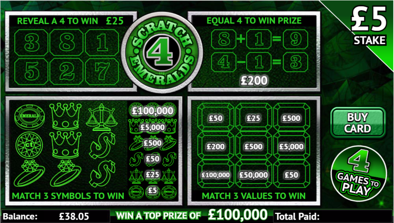 Play Scratch 4 Emeralds online scratchcard at Crown Bingo