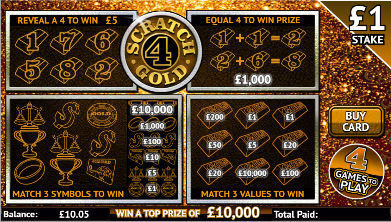 Play Scratch 4 Gold online scratchcard at Crown Bingo