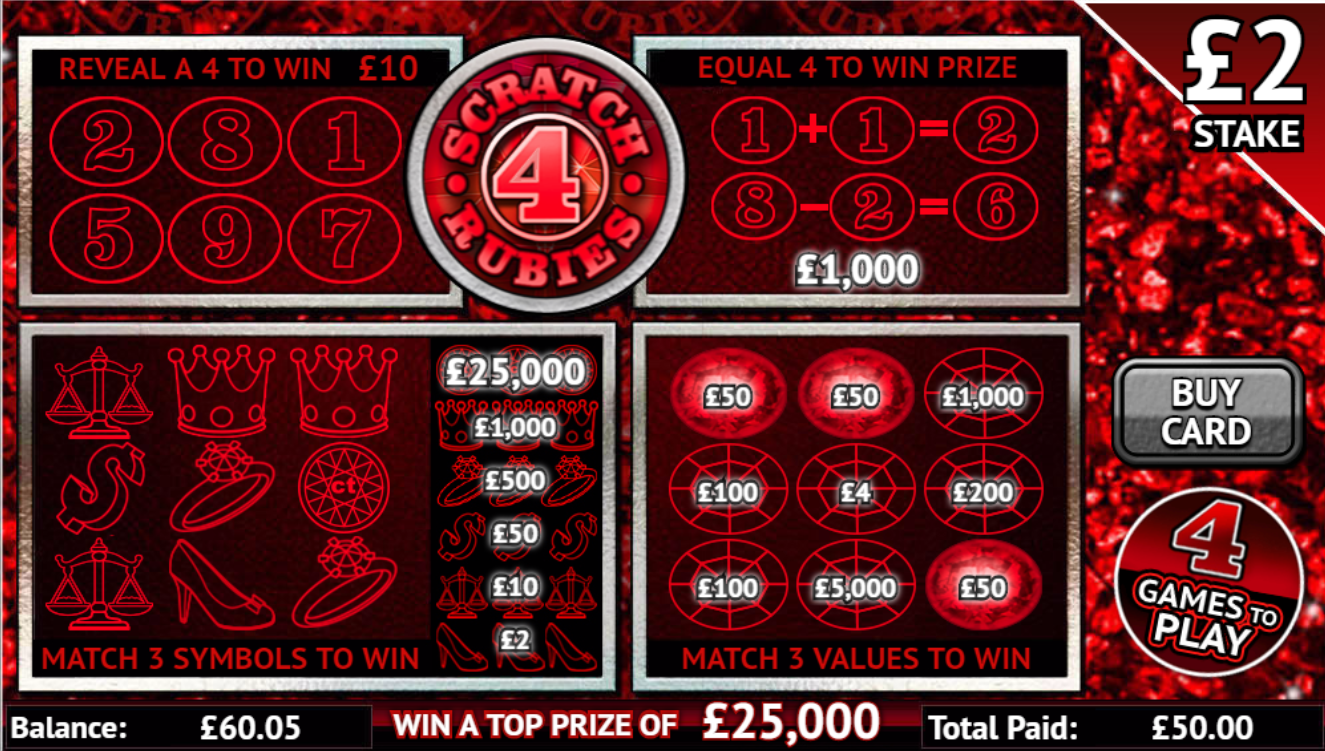Play Scratch 4 Rubies online scratchcard at Crown Bingo